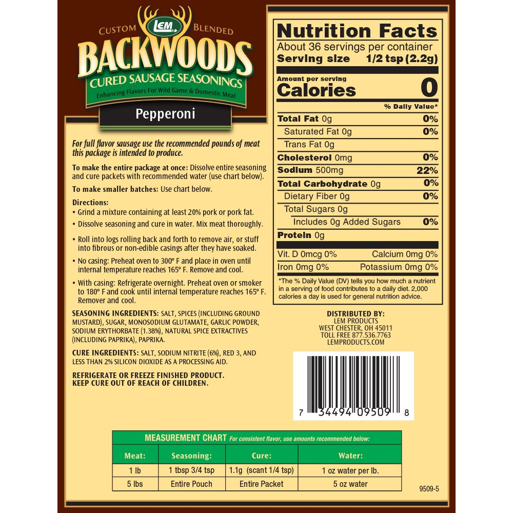 Backwoods Pepperoni Cured Sausage Seasoning - Makes 5 lbs. - Directions & Nutritional Info