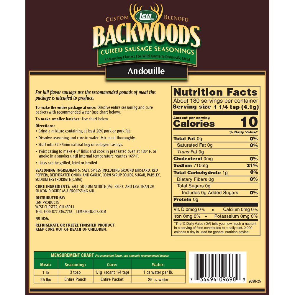 Backwoods Andouille Cured Sausage Seasoning - Makes 25 lbs. - Directions & Nutritional Info