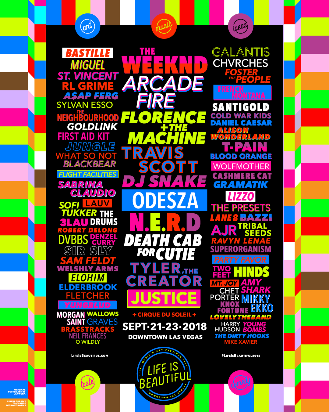Life is Beautiful Music & Art Festival 2018 Official Lineup Poster