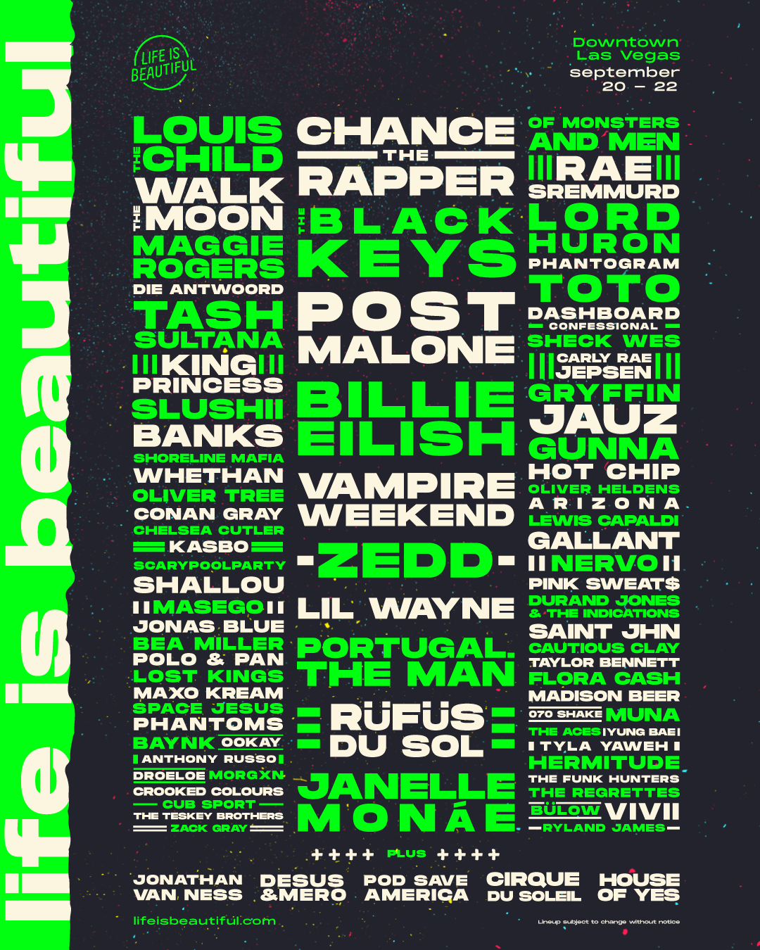 LIFE IS BEAUTIFUL 2019 Lineup