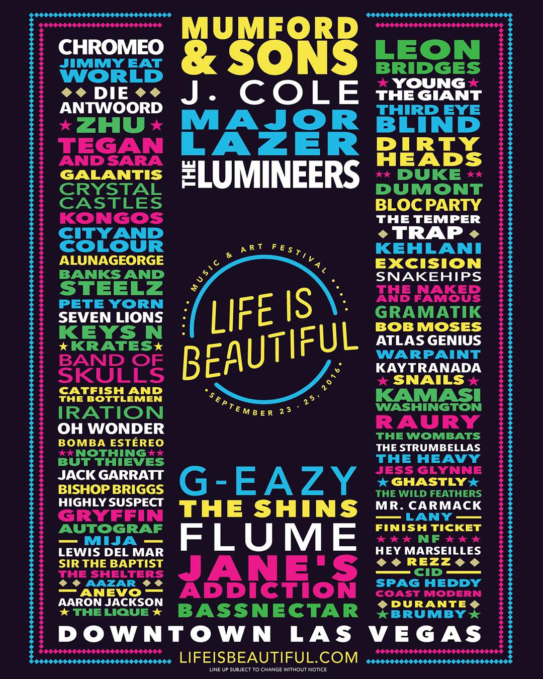 Life Is Beautiful Festival 2020.Life Is Beautiful Music Art Festival