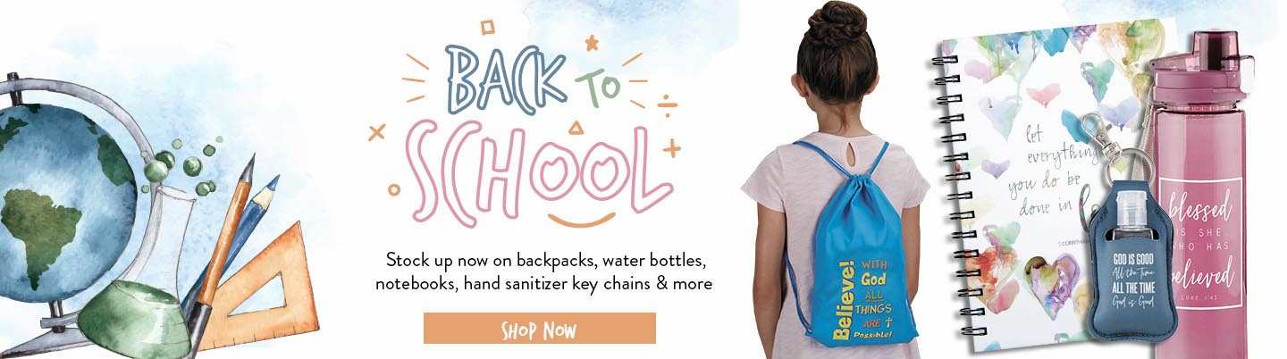 Back to School. Stock up now on backpacks, water bottles, notebooks, hand sanitizer key chains and more!