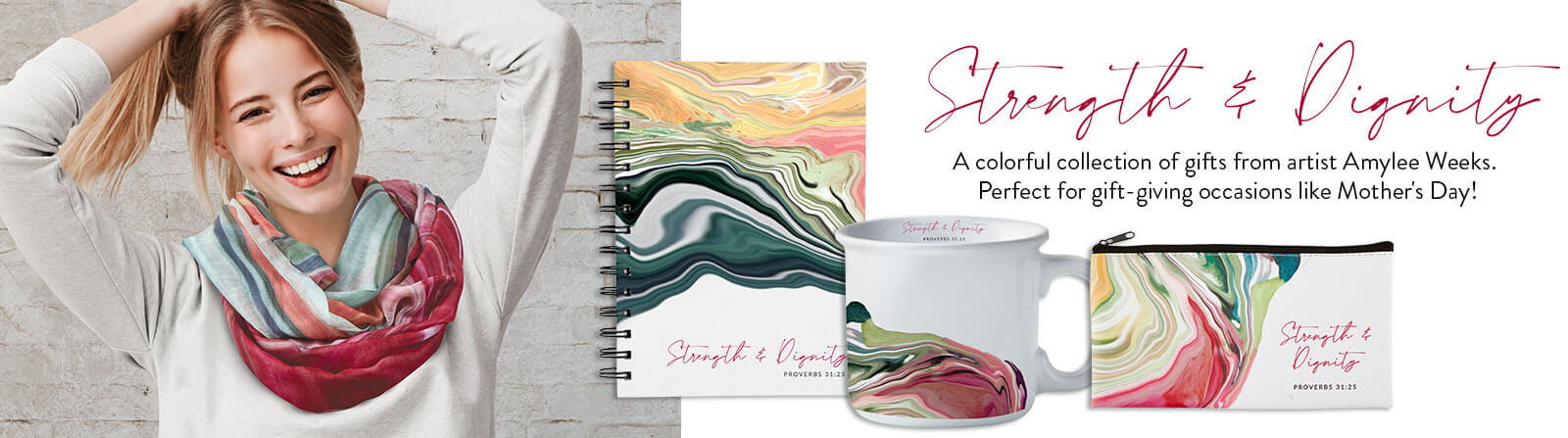 Strength & Dignity - A colorful collection of gifts from artist Amylee Weeks. Perfect for gift-giving occasions like Mother's Day!