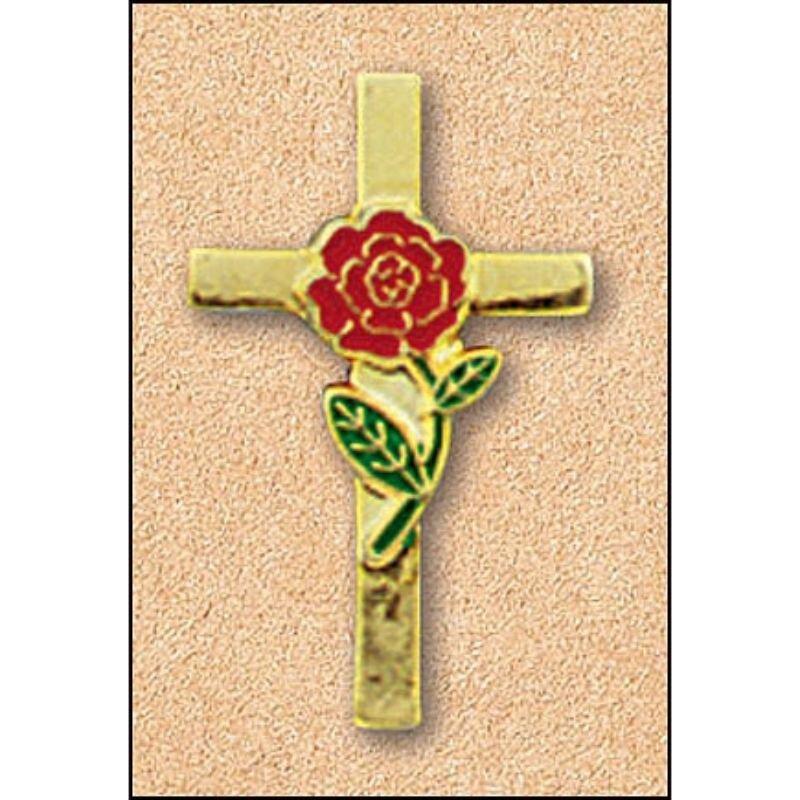 Rose Cross Enamel Pin - 25/pk