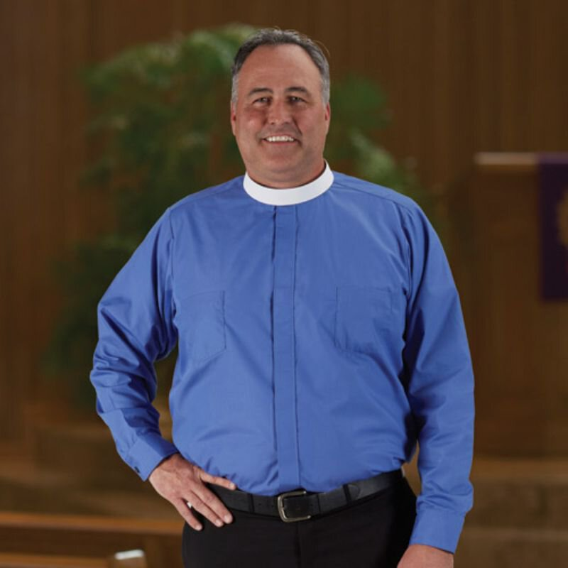 R. J. Toomey™ Big & Tall Neckband Long Sleeve Clergy Shirt with French Cuffs