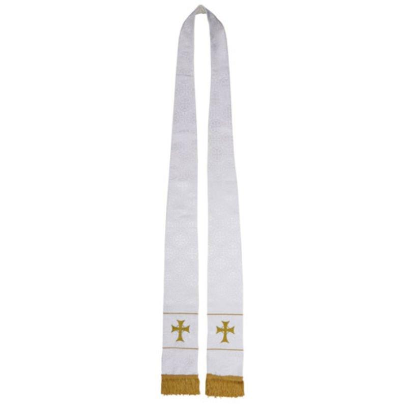 Maltese Jacquard Stole - White Radiant Cross