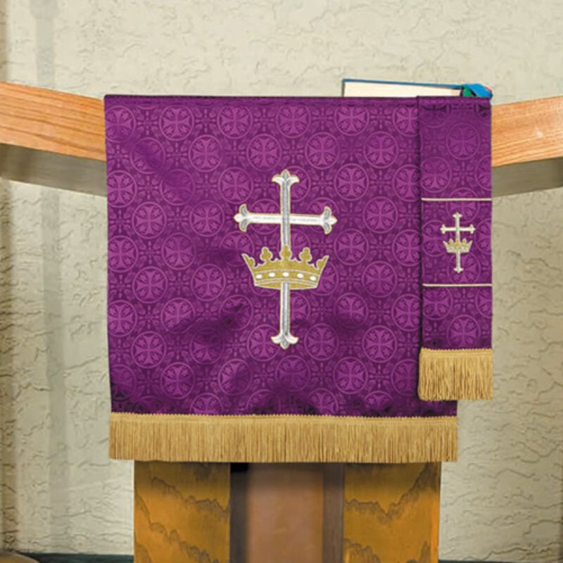 Maltese Jacquard Pulpit Scarf - Purple Cross with Crown