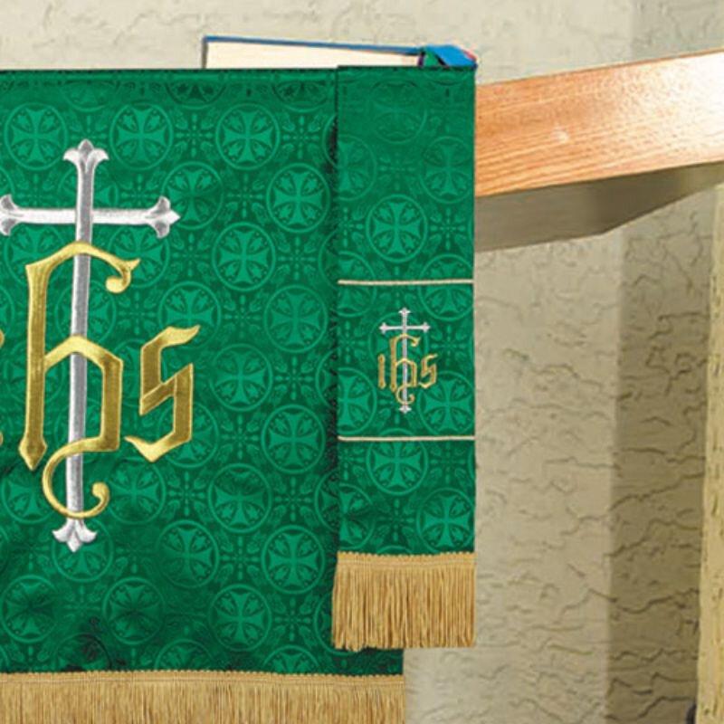Maltese Jacquard Bookmark - Green IHS Cross