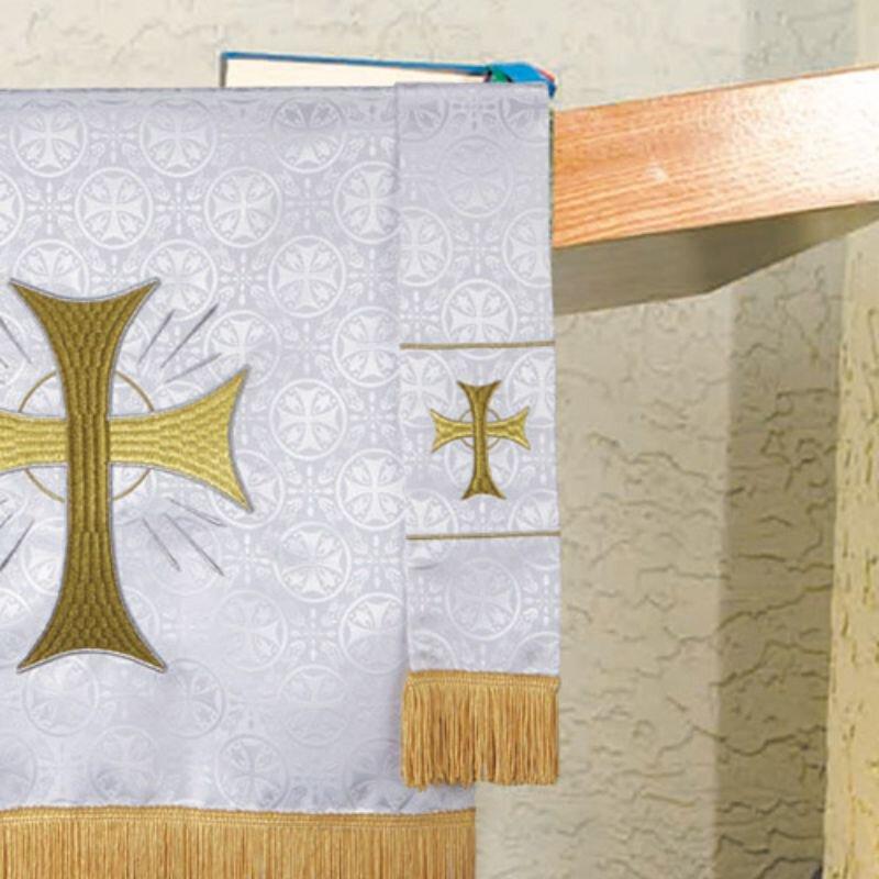 Maltese Jacquard Bookmark - White Radiant Cross