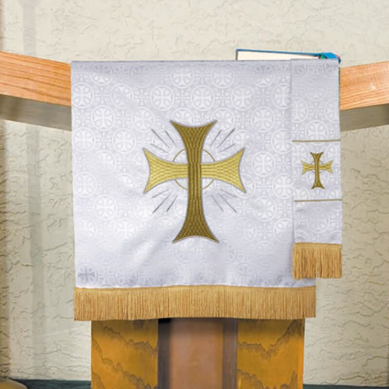 Maltese Jacquard Pulpit Scarf - White Radiant Cross