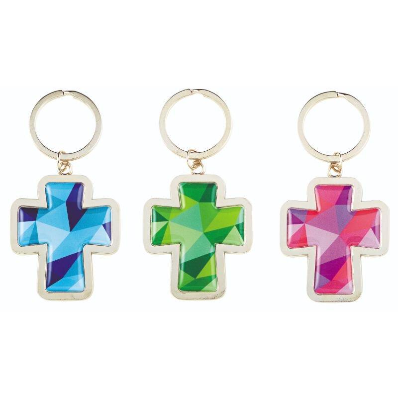 Mosaic Cross Key Chain Assortment (3 Asst) -12pk