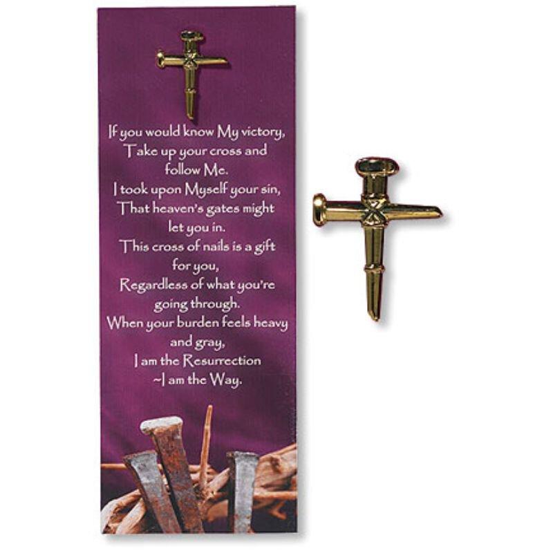 Nail Cross Lapel Pin with Bookmark