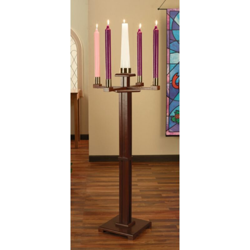 Standing Advent Candlestick wtih Candles Set - Walnut Stain
