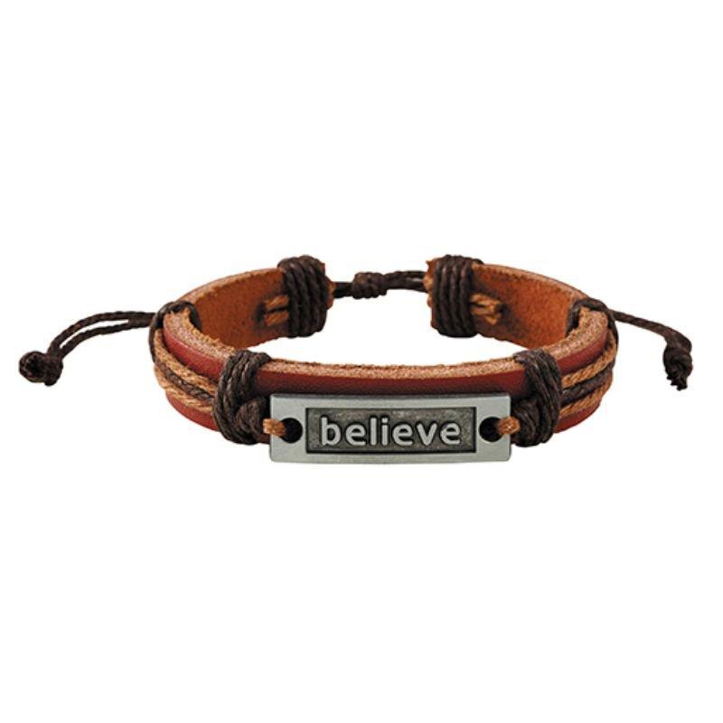Believe Brown Leather Bracelet
