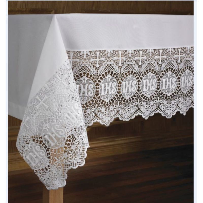 """Altar Cloth With 9"""" Lace Edging"""