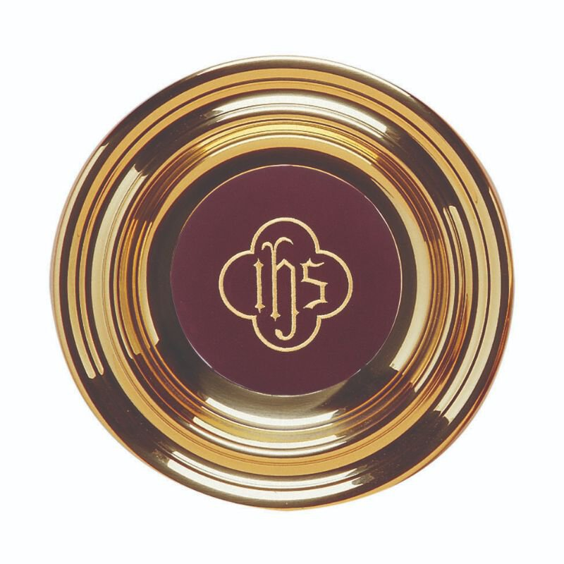 Brass Offering Plate With Embroidered Symbol Pad