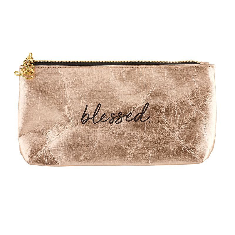 Blessed Metallic Rose Gold Zippered Pouch