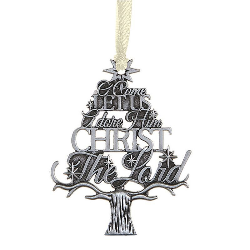 O Come Let Us Adore Him Tree Antique Ornament - 12/pk