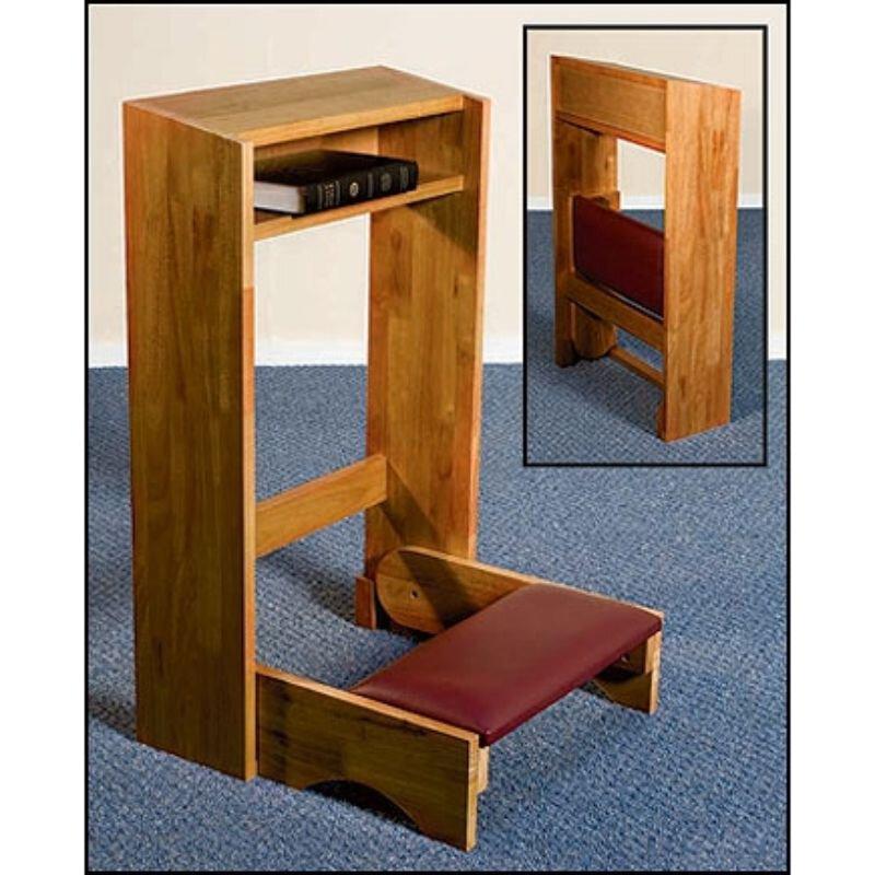 Folding Padded Kneeler - Pecan Stain