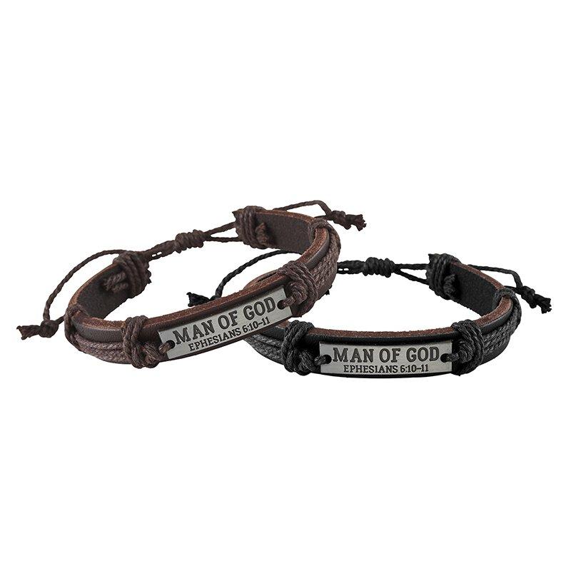 Man of God Leather Bracelet Assortment (2 Asst) - 12/pk