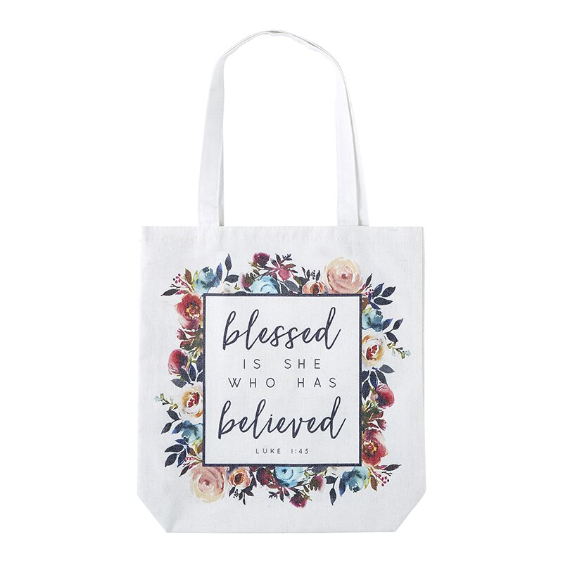 Blessed is She Who Has Believed Tote Bag with Inside Pocket - 8/pk
