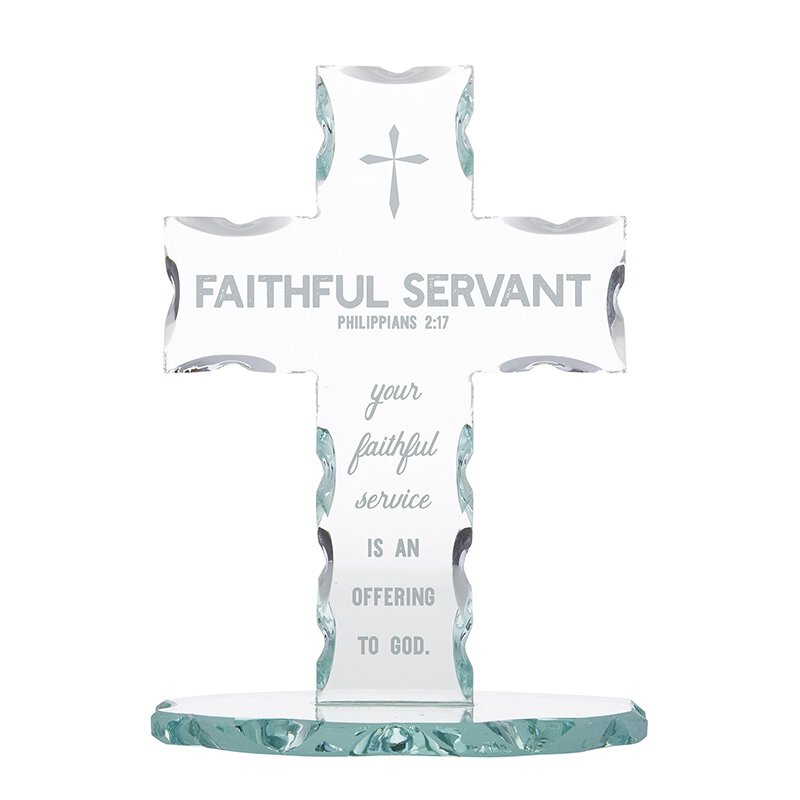 Faithful Servant Glass Standing Cross