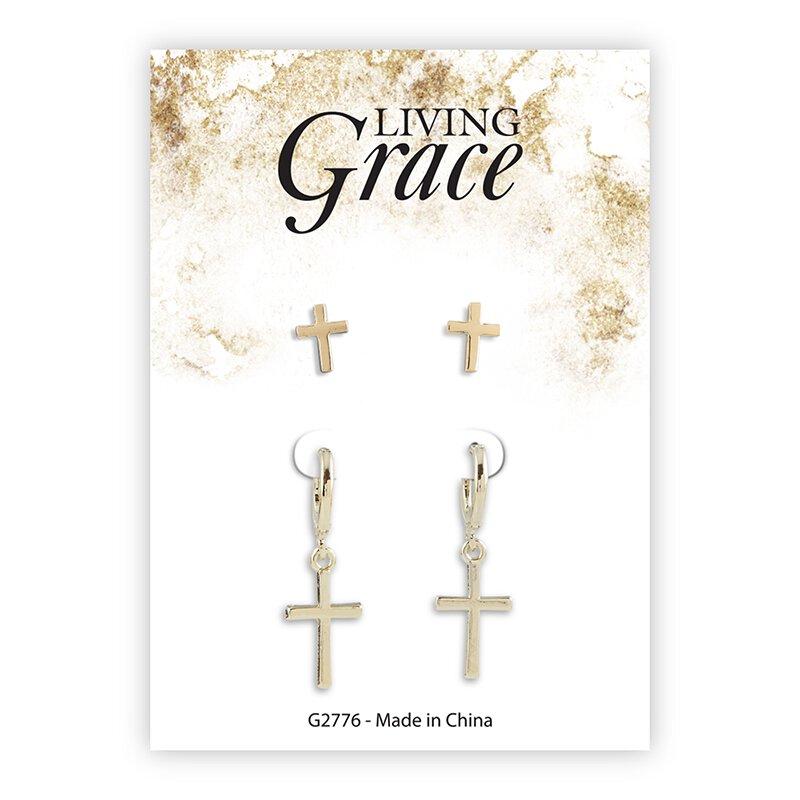 Gold Cross Earrings Set - 8/pk