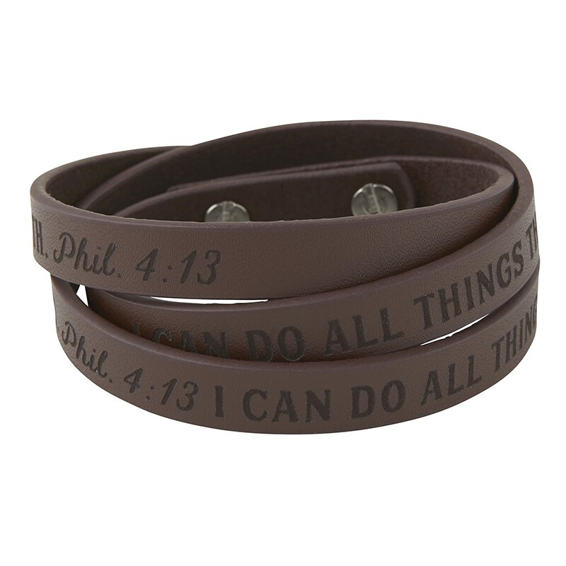 I Can Do All Things Leather Wrap Bracelet - 6/pk