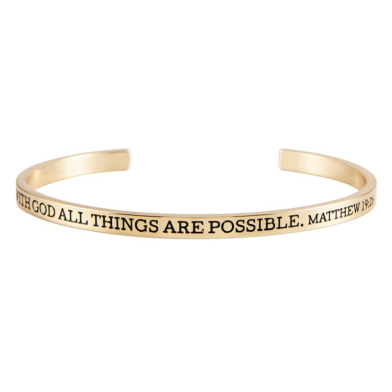 With God All Things are Possible Cuff Bracelet - 8/pk
