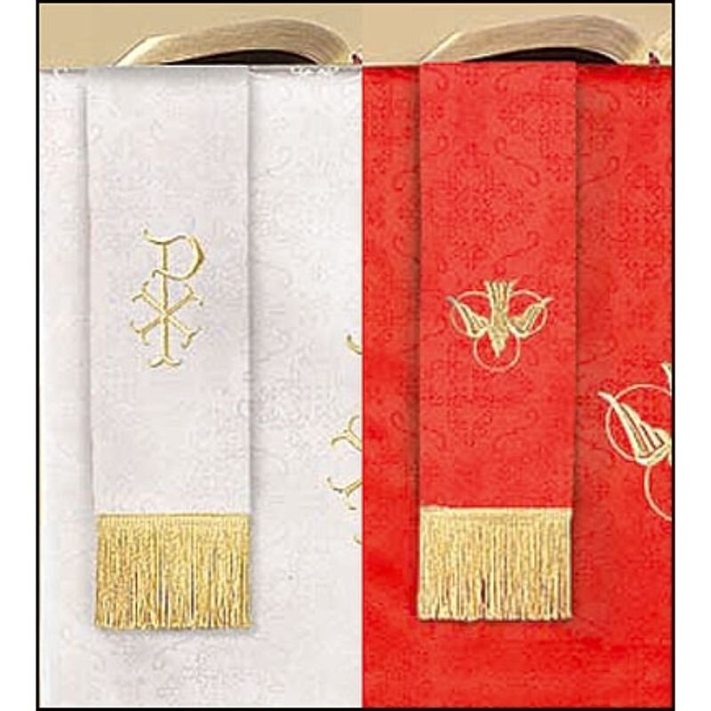 Jacquard Reversible Bookmark with Dove: Red/White