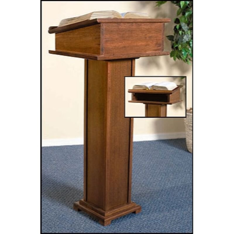 Lectern with Shelf - Walnut Stain