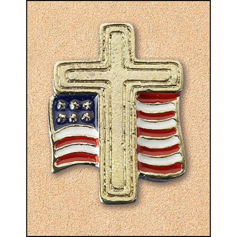 Cross with American Flag Lapel Pin - 25/pk