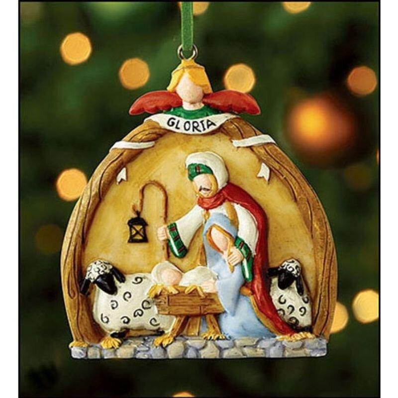 Gloria Nativity Ornament - 12/pk