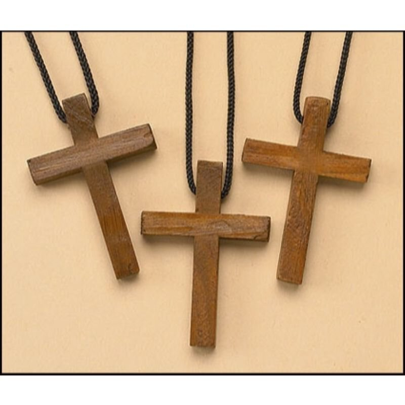 Wood Cross Pendant - 24/pk