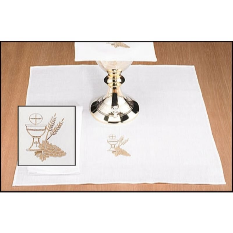 100% Linen Corporal with Chalice and Wheat - 4/pk
