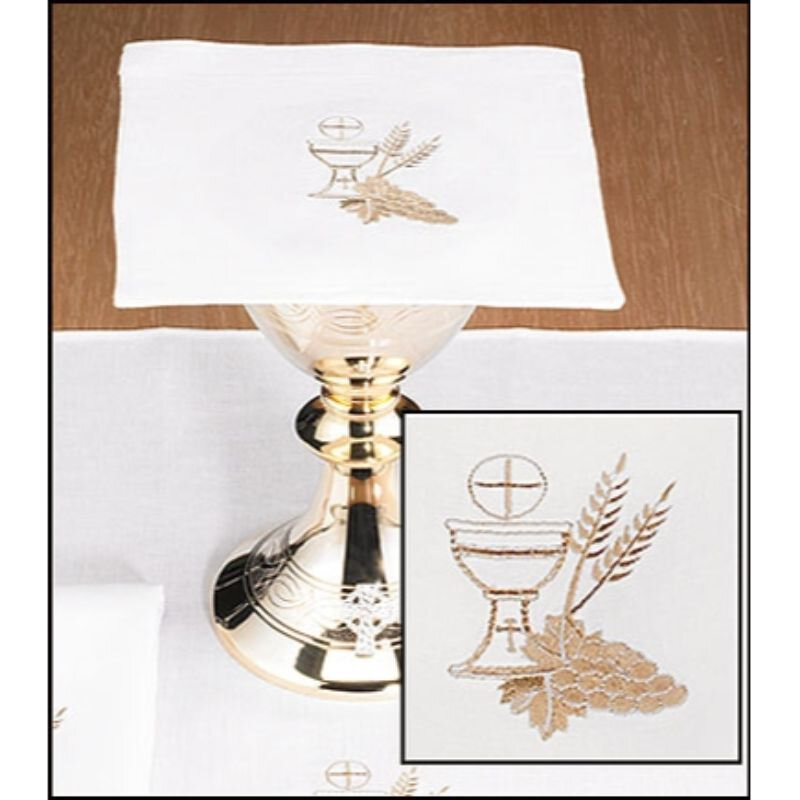 100% Linen Chalice Pall with Chalice and Wheat - 4/pk