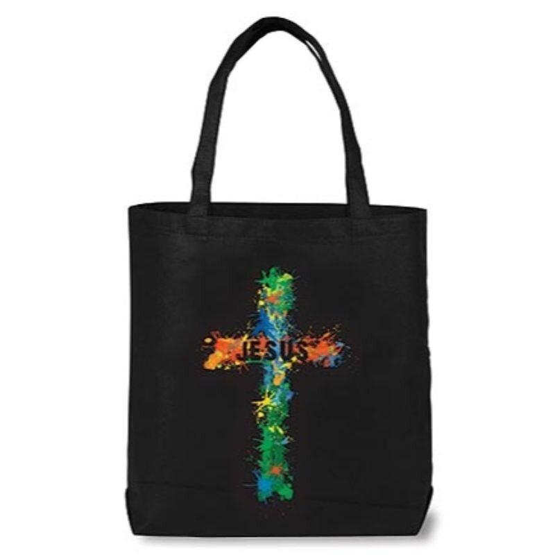 Jesus Cross Teen Bible Tote Bag - 12/pk