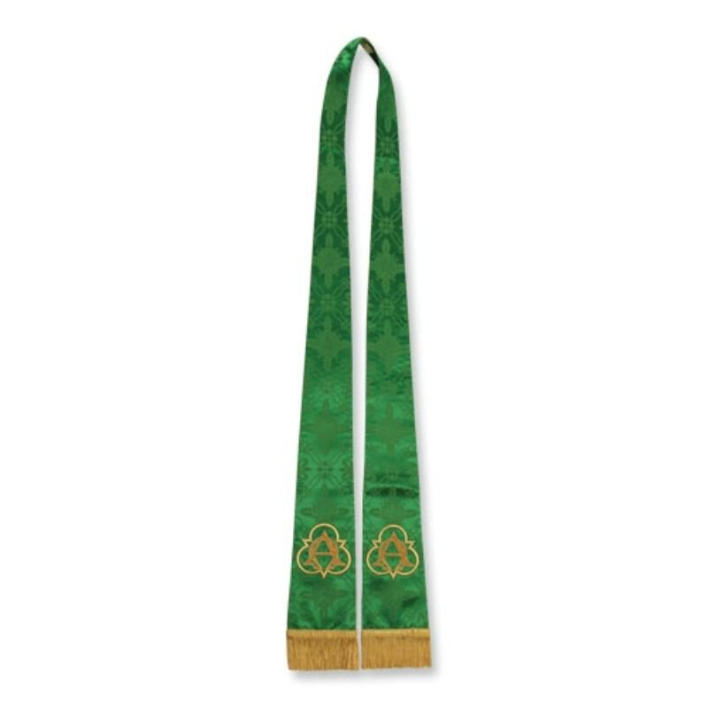 Green Stole with Alpha Omega