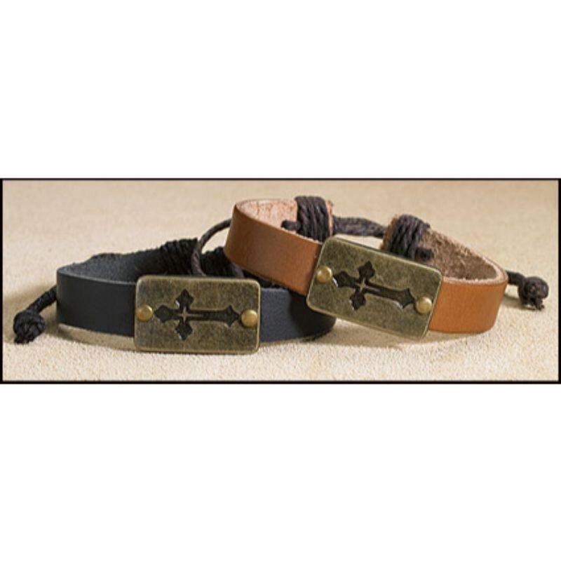 Leather Cross Bracelet Assortment - 12/pk