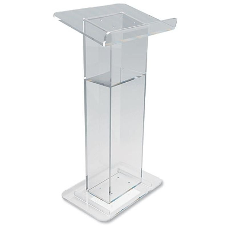 U-Shaped Acrylic Lectern with Shelf