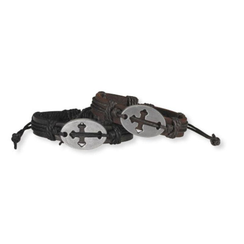 Cross Cut Out Leather Bracelet - 12/pk
