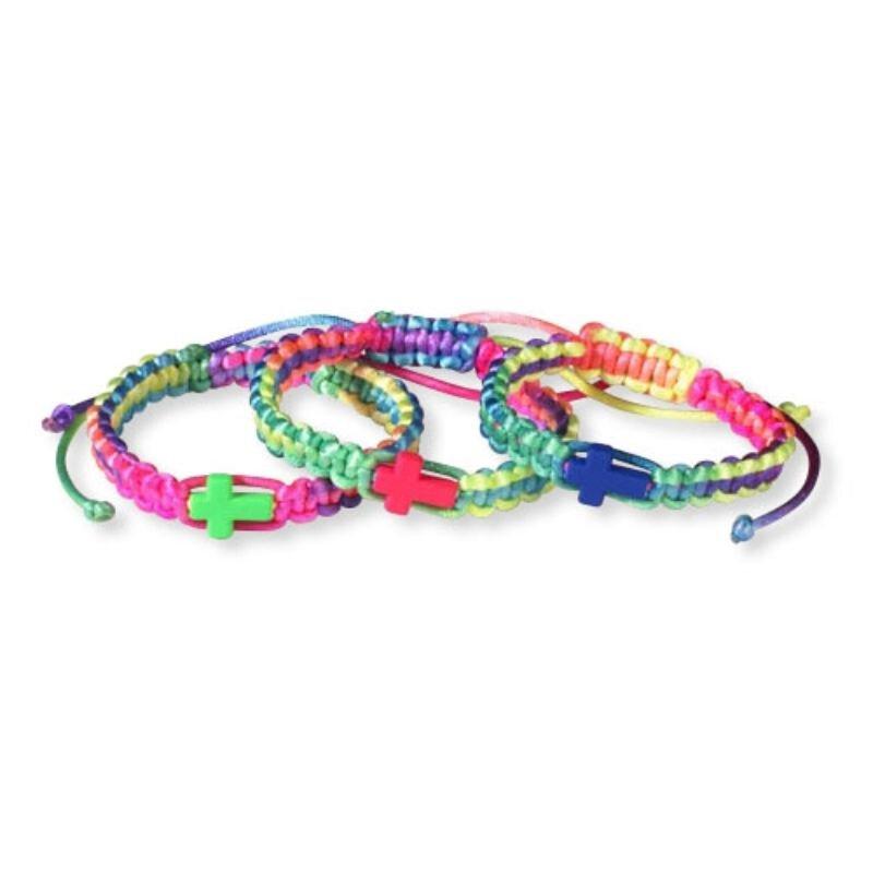 Rainbow Braided Cross Bracelet - 12/pk