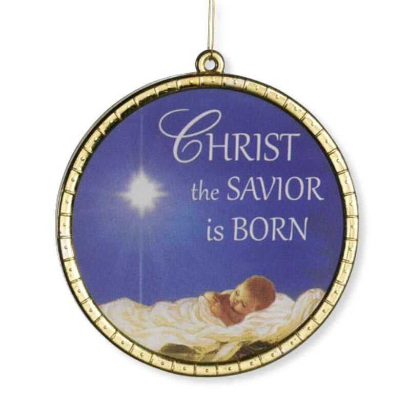 Christ the Savior is Born Glass Ornament