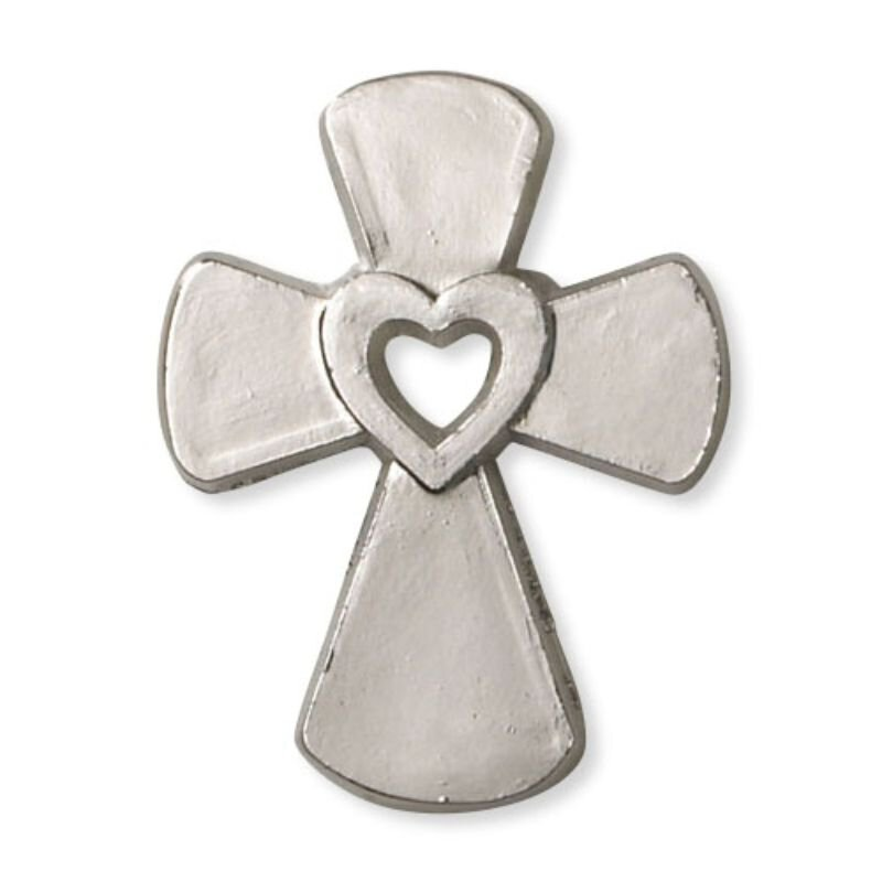 Cross with Heart Lapel Pin - 50/pk