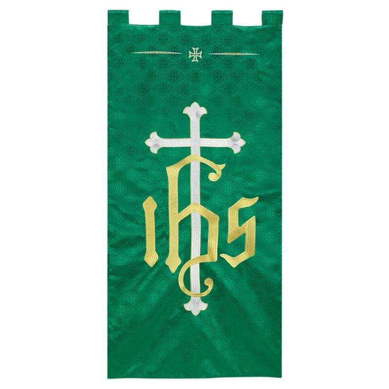 Maltese Jacquard Banner - Green IHS Cross