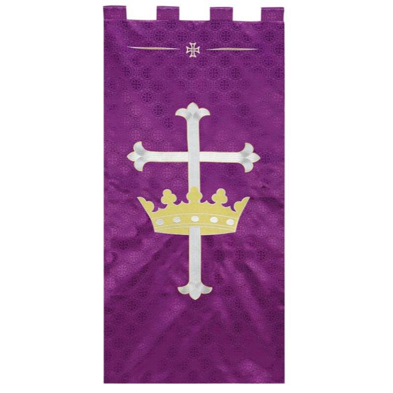 Maltese Jacquard Banner - Purple Cross with Crown