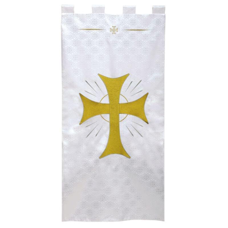 Maltese Jacquard Banner - White Radiant Cross