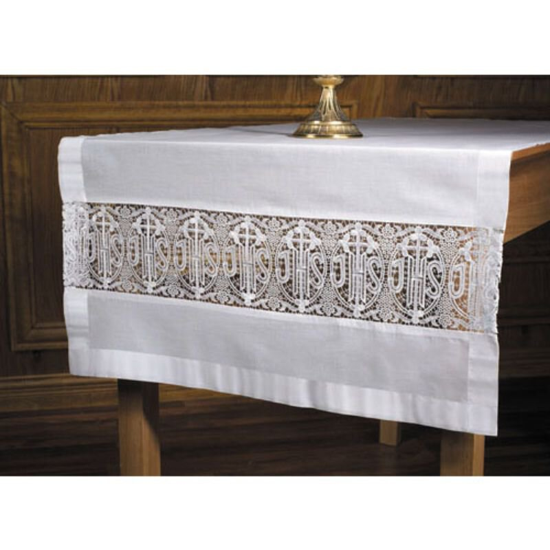 Latin Cross and IHS Lace Altar Runner