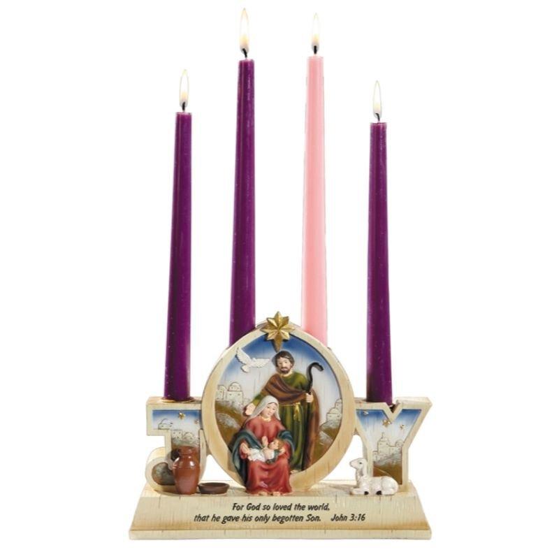 Joy Nativity Advent Candleholder