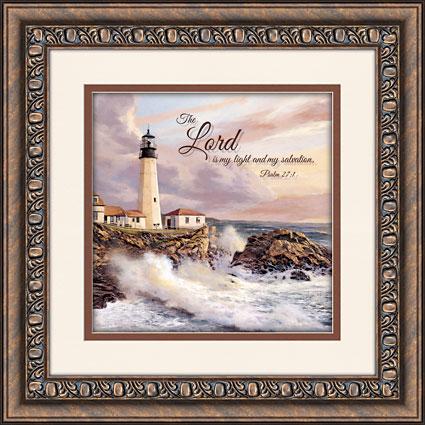 Lighthouse Psalm 27:1 Framed Wall Art